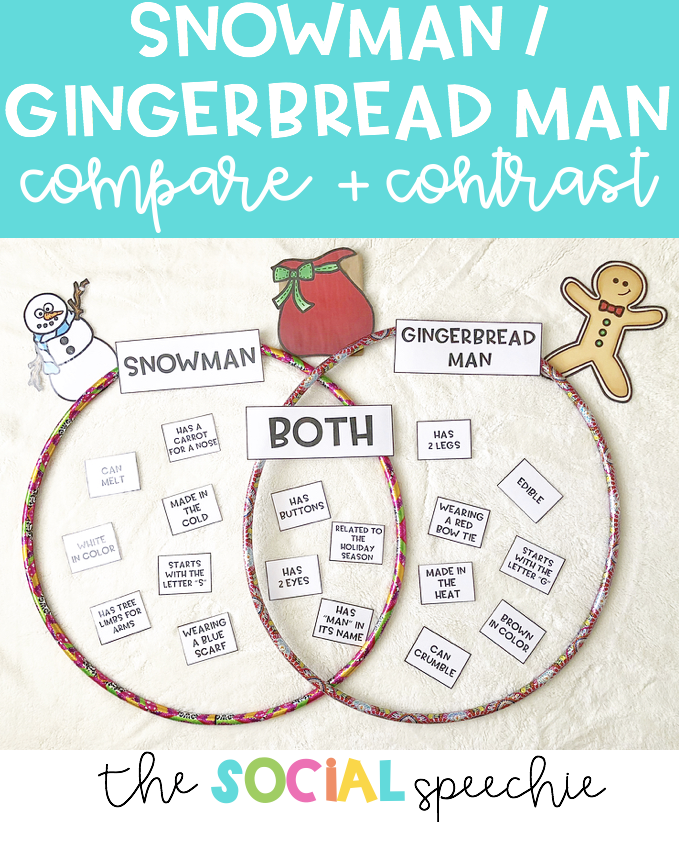 Snowman And Gingerbread Man Comparecontrast Activity The Social