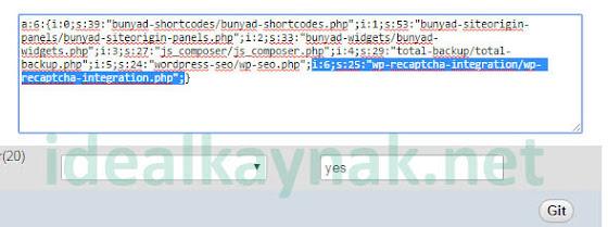 Wordpress Veritabanında Eklenti Etkisizleştirme - phpMyAdmin