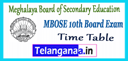 MBOSE Meghalaya Board of Secondary Education 10th Time Table