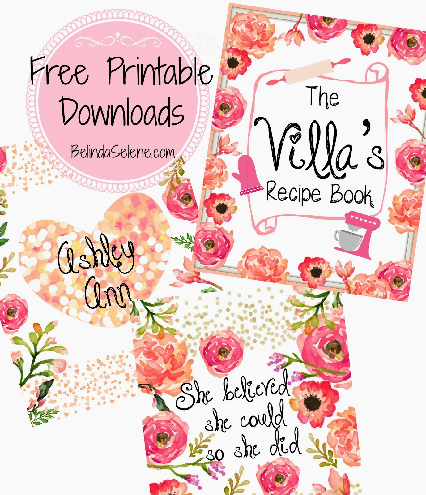 Printable Cookbook Cover : Belindaselene free gorgeous printable covers for erin