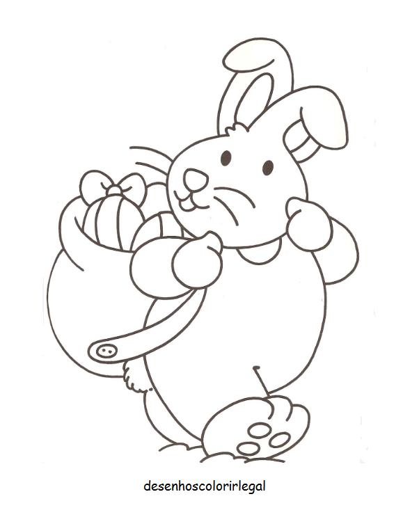 Desenhos Colorir Legal Desenho De Coelho Carregando Ovos Da
