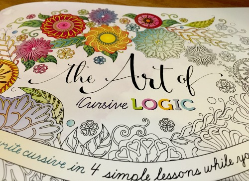 The Art of Cursive Logic book cover adult coloring book and cursive writing practice
