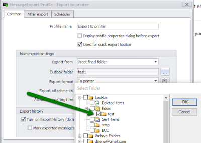 How to choose Outlook folders for email printing with MessageExport add-in.