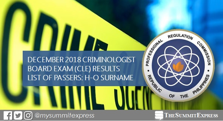 H-O List of Passers: December 2018 Criminology board exam result