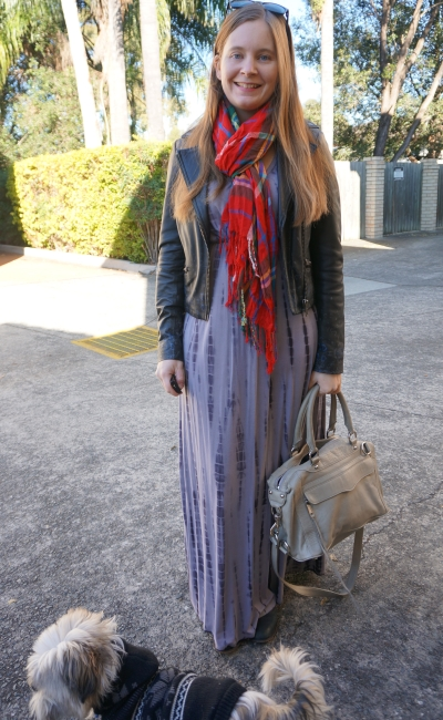 tie dye maxi dress in winter leather jacket ankle boots tartan scarf RM mam bag | awayfromblue