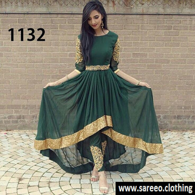 Green Color New Style Georgette Suit with Hand Embroidery Bottom
