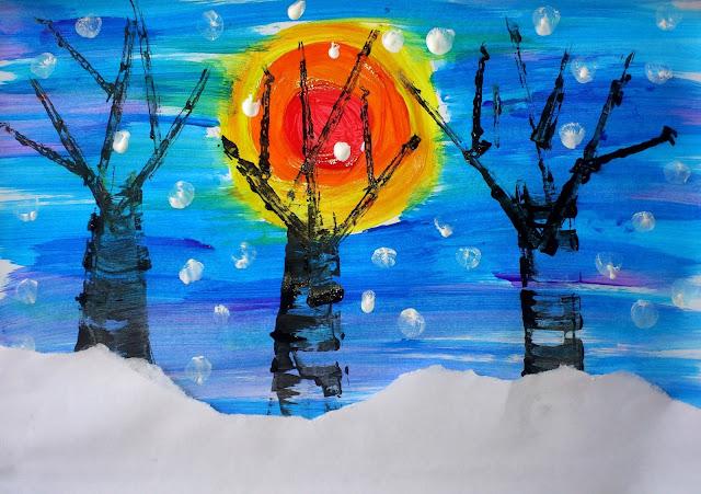 Peisaj de iarnă - culori calde, culori reci