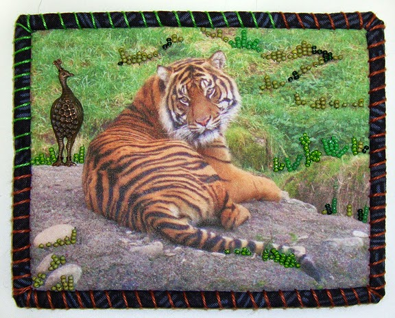 Robin Atkins, Travel Diary Quilt, detail, Dumai, a tiger at Pt. Defiance Zoo