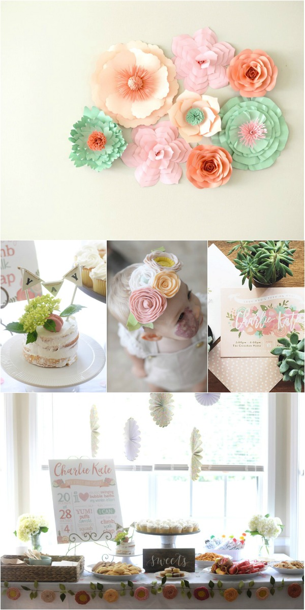 First birthday party floral decorations