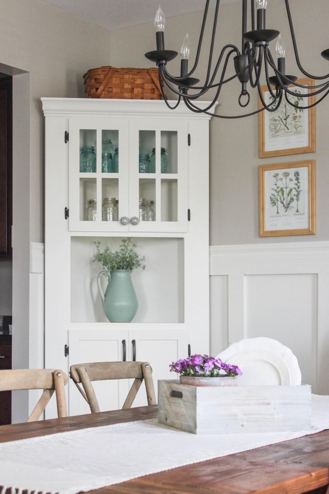 DIY Farmhouse Corner Cabinet | Delightfully Noted