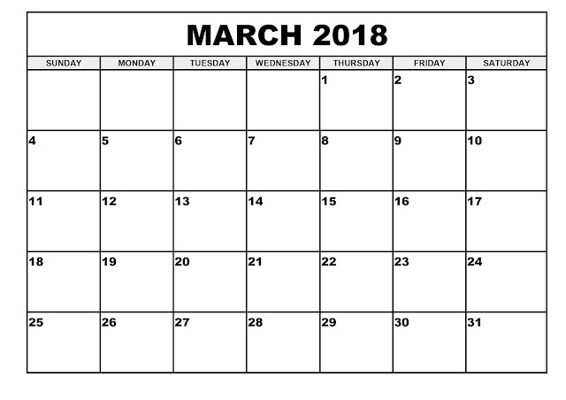 March 2018 Blank Calendar, Blank March 2018 Calendar, March 2018 Calendar Printable, March 2018 Calendar Template, Printable March 2018 Calendar