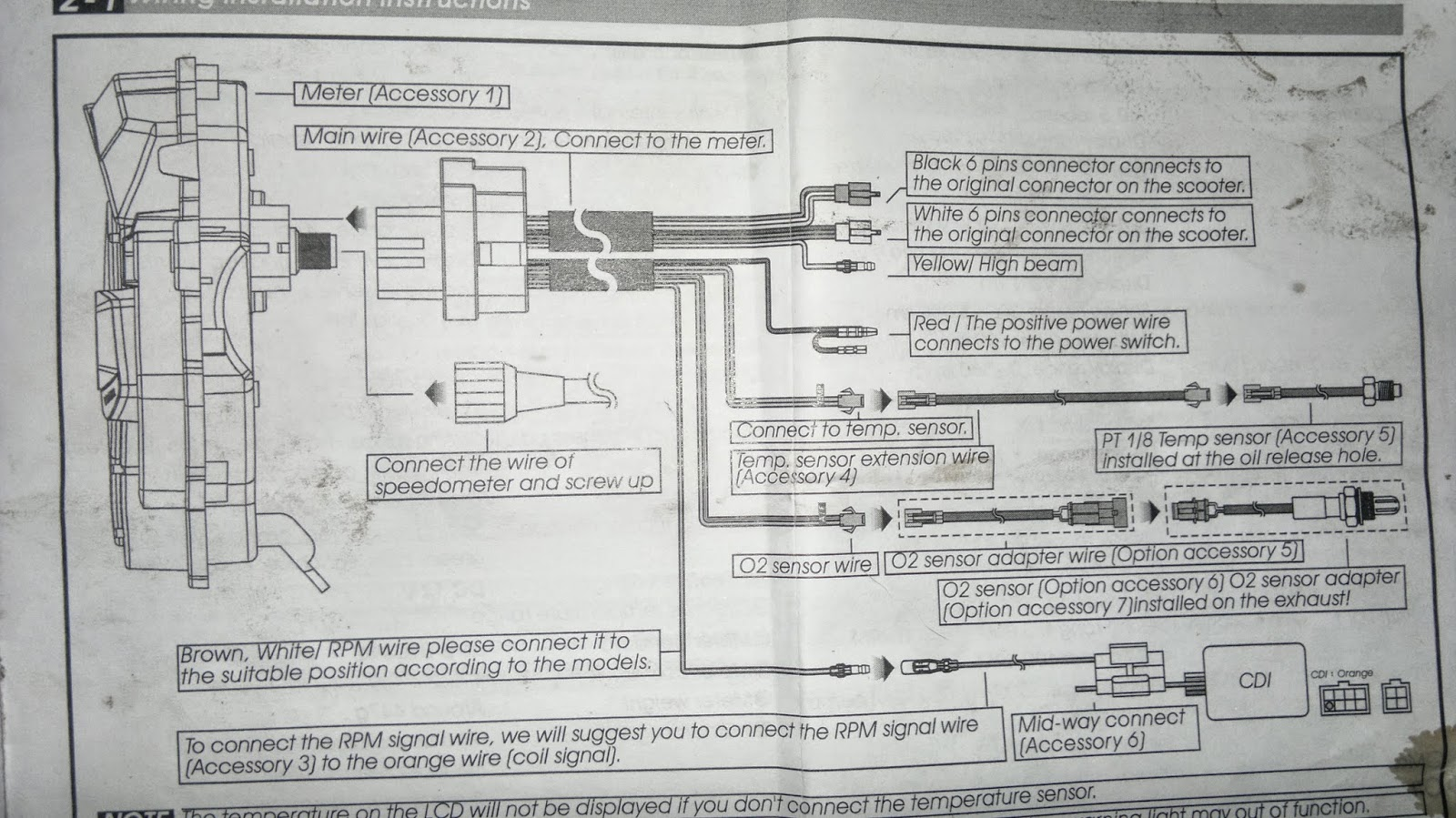 Wiring installation instructions (uma racing digital meter LC135)