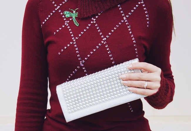 silver studded clutch