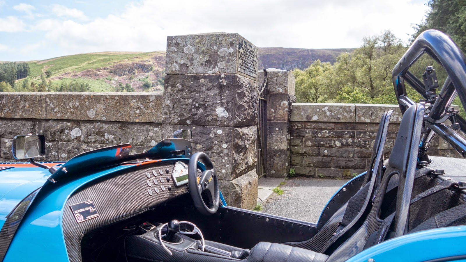 Caterham R500 interior shot at the Pen Y Garreg Dam
