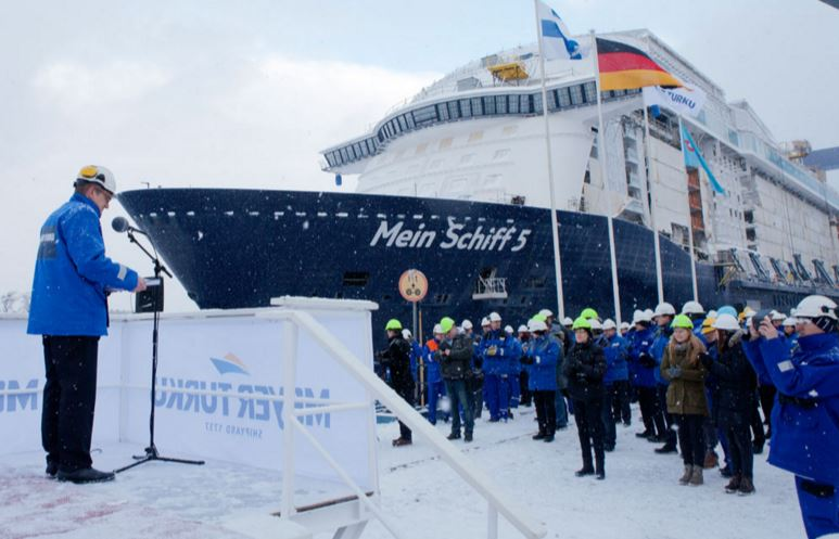 Mein Schiff 5 Floated Out by Meyer Turku
