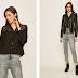 Camasa neagra de femei asimetrica casual su animal print ieftina Only