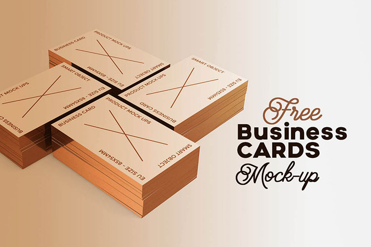 4 Business Cards Mockup