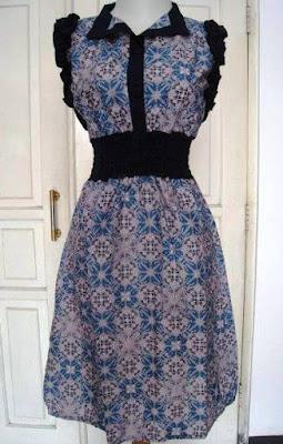 Gaun Batik Kombinasi Polos Wanita Remaja