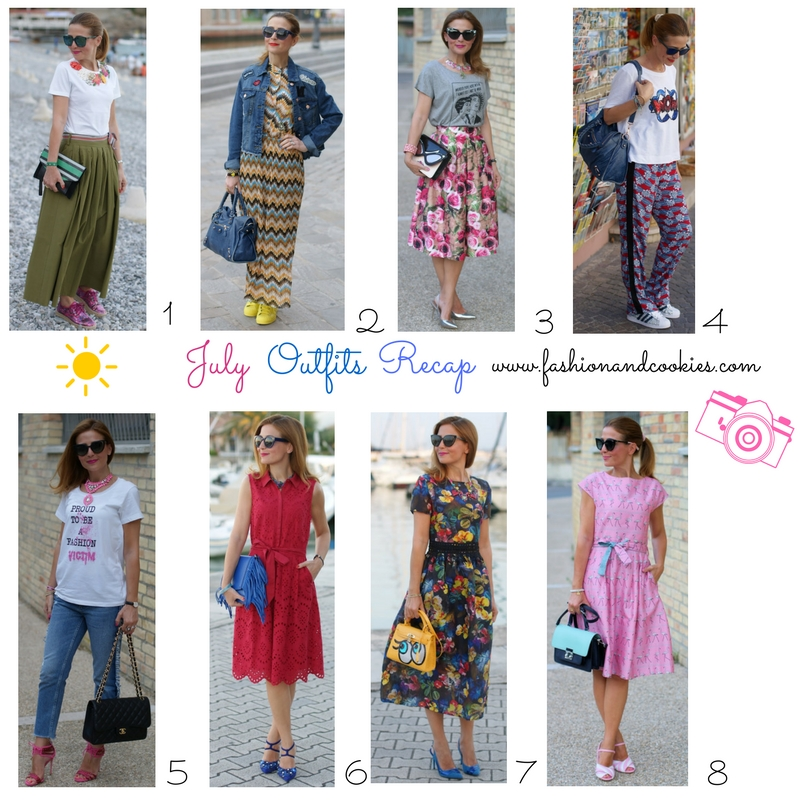Welcome August, fashion blogger July outfits recap on Fashion and Cookies fashion blog