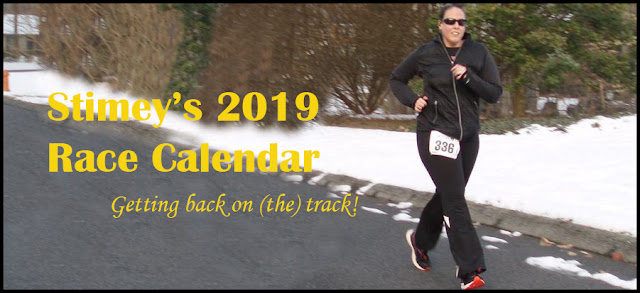 Photo of me running with caption: Stimey's 2019 Race Calendar, Getting back on (the) track!