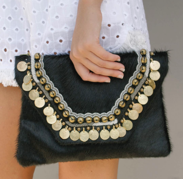 COWHIDE COIN CLUTCH