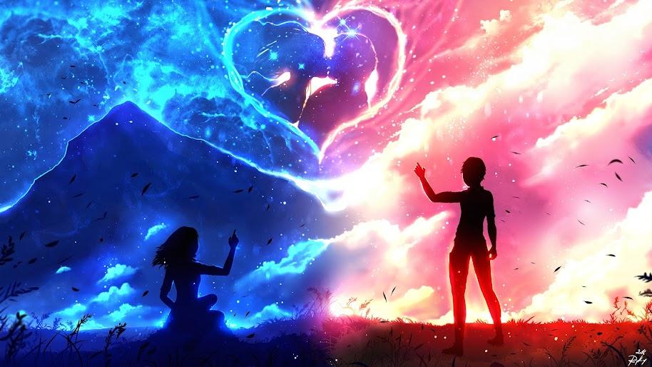 anime couple silhouette heart 4K 60
