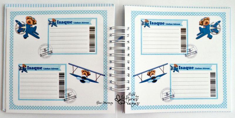 álbum livro de mensagens azul menino urso ursinho avião aviador