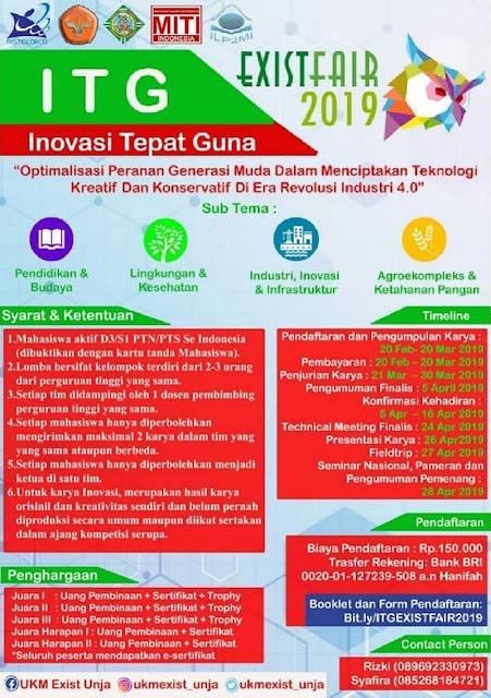 Lomba Inovasi Tepat Guna ITG Exist Fair 2019 Mahasiswa