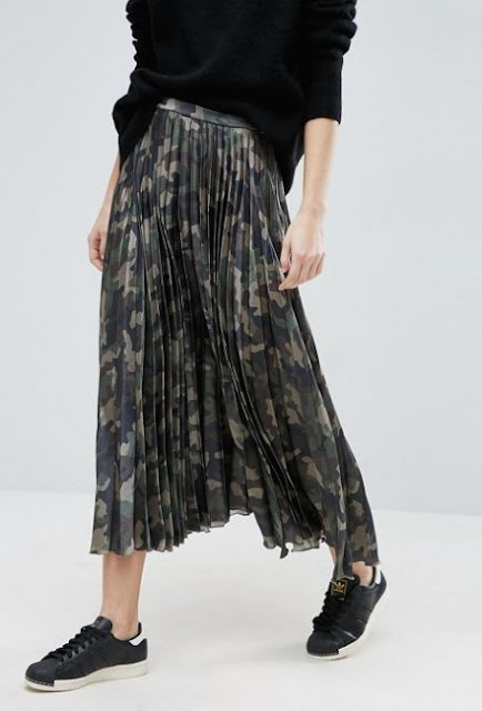 ASOS Pleated Skirt in Satin with Camo Print