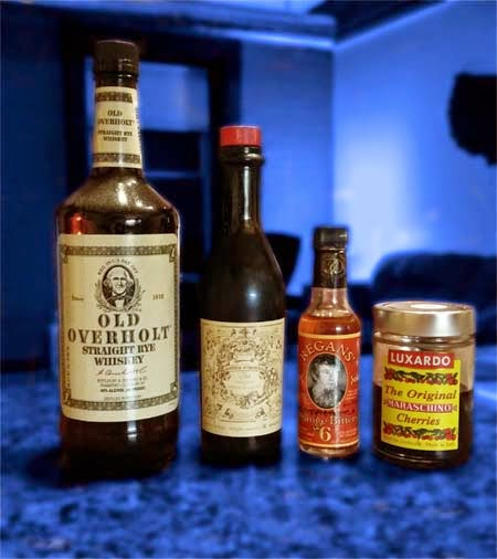 Ingredients for the Manhattan Cocktail.