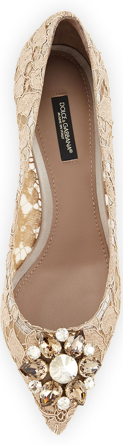 Dolce & Gabbana Jewel-Embellished Lace Pump, Sand