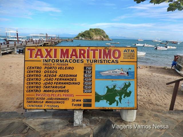 Tabela de preços do serviço de Táxi aquático que transportam turistas para as praias vizinhas em Búzios