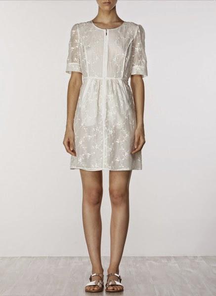 Vestido bordado de algodon y seda