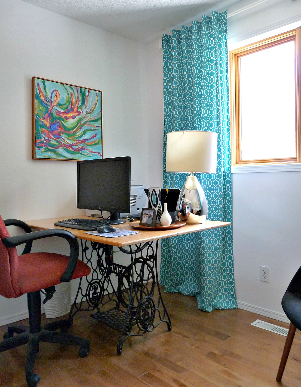 Colorful Mid-Century Modern Inspired Home Office Makeover | Before + After