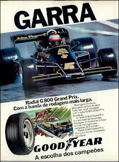 propaganda  pneus radial G 800 Grand Prix Good Year - 1977, pneus Good Year anos 70, Good Year década de 70, corrida formula um década de 70, Oswaldo Hernandez,