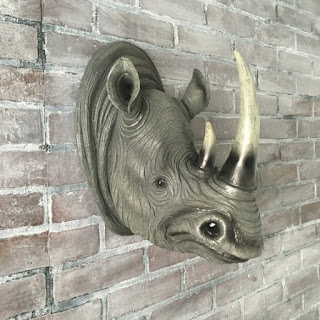 Clearance SALE ANY COLOR Rhino Head Wall Mount // Faux Taxidermy // Safari Nursery // African Rhinoceros Sculpture / Trophy // Zoo Animal