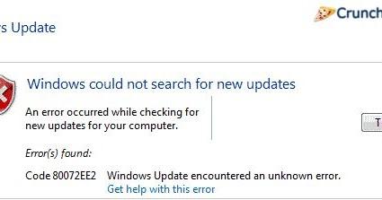 Solved] Fix Windows Update Error Code 80072ee2
