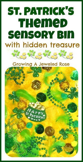 St. Patrick's Themed Sensory Bin With Hidden Treasure. Click for more colorful #stpatrick sensory bins