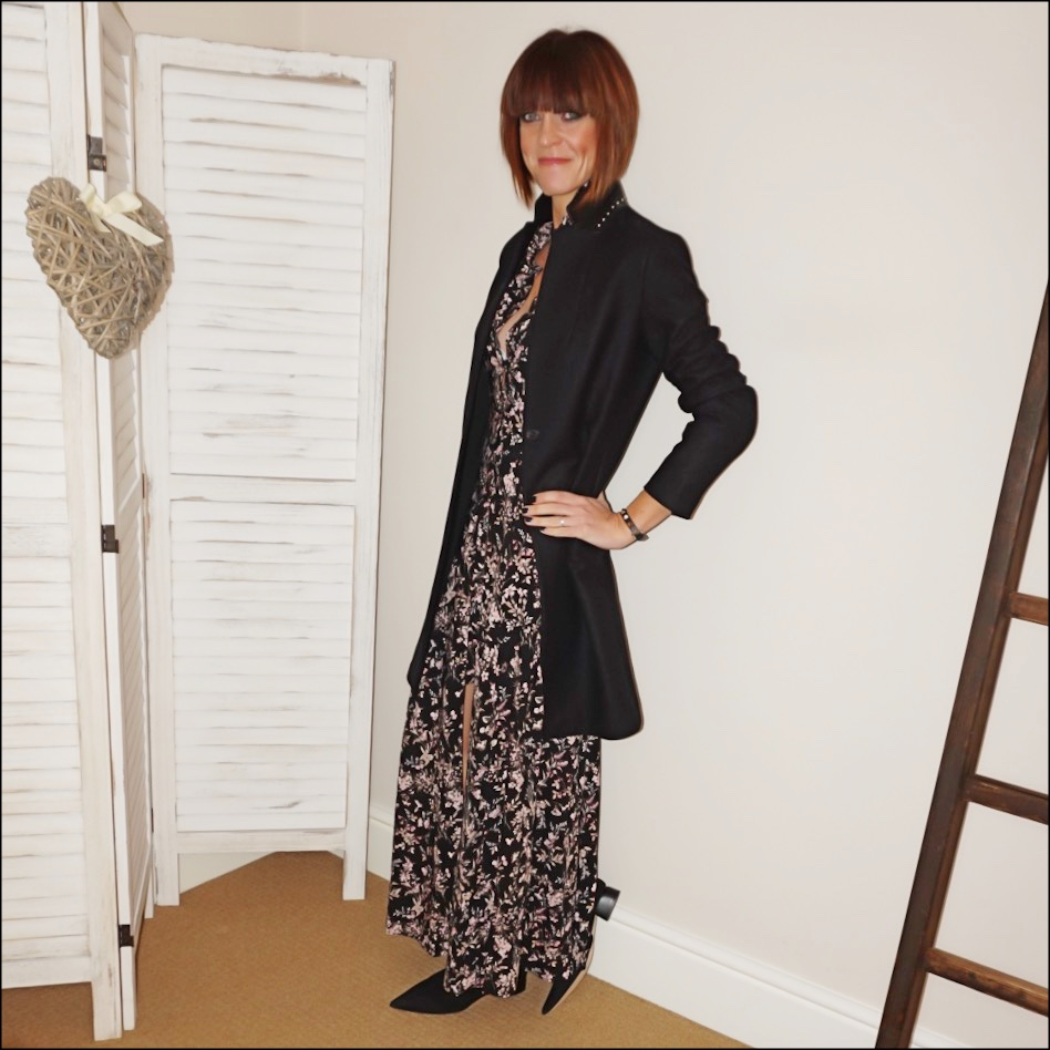 my midlife fashion, all saints tailored coat, find women ark leather ankle boots, find multicolour maxi off the shoulder dress