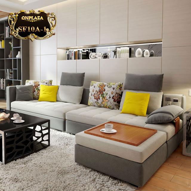 Bộ ghế sofa bọc nhung tiện dụng, hiệu quả SF10A màu xám
