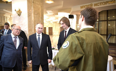 Vladimir Putin and Viktor Sadovnichy, Student Organization Leaders.