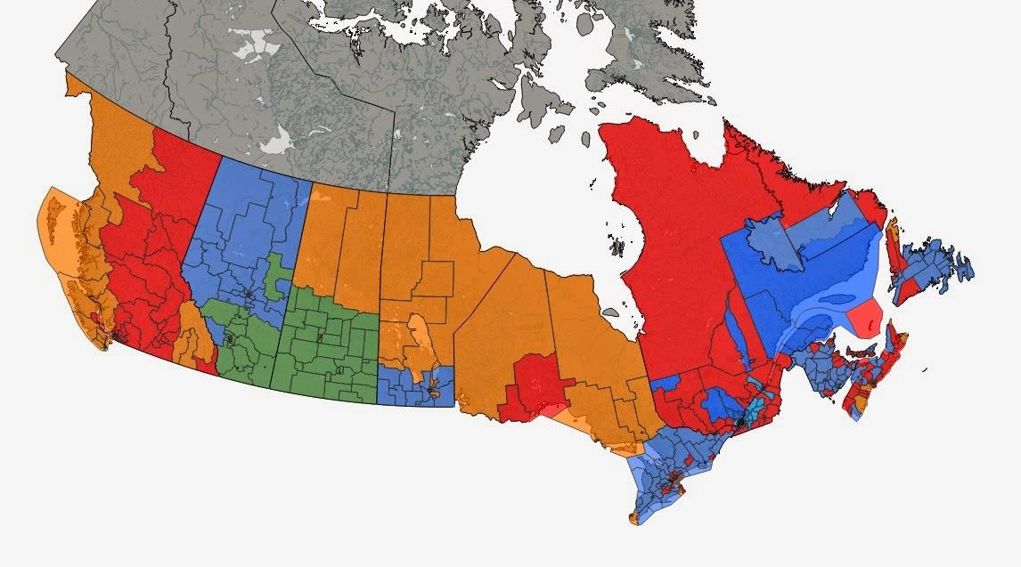 Electoral District Map Canada A Cartographic View: Canada by Provincial Electoral District