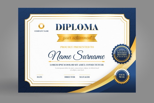 Certificate template in blue and golden Free Vector Illustrations