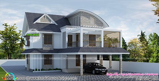 Curved roof mix villa architecture