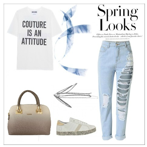 Total look borsa liu jo, jeans, sneakers e tee