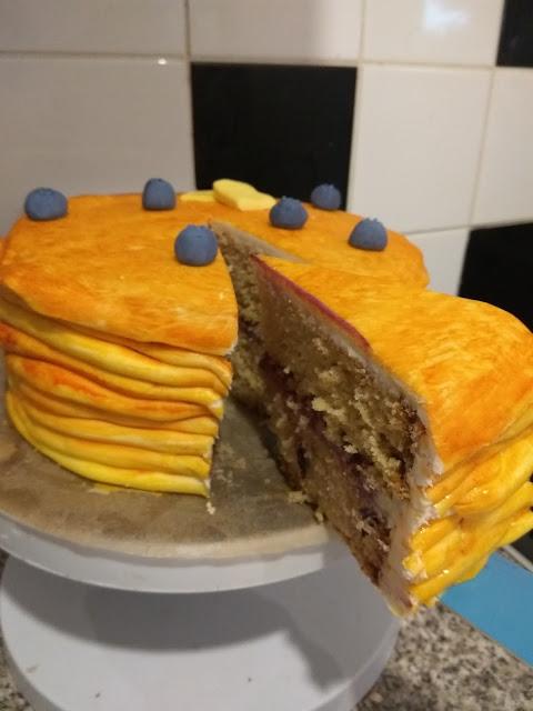 Roasted white chocolate blueberry pancake cake slice