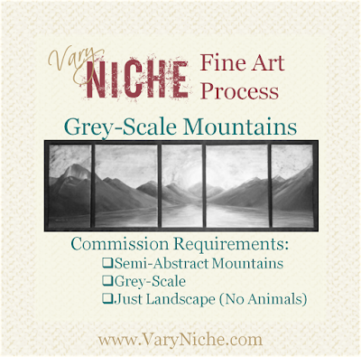 Image of completed mountain landscape with title and Commission Requirements checklist: Semi-Abstract Mountains, Grey-Scale, Just Landscape (No Animals)