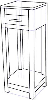 Cara Mudah Menggambar atau sketsa Penyangga Telepon  / Telephone Stand