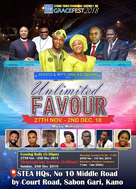 GraceFestival 2018 happening Live from tommorow,27th @StrongTower Evangelical Assembly, Kano.