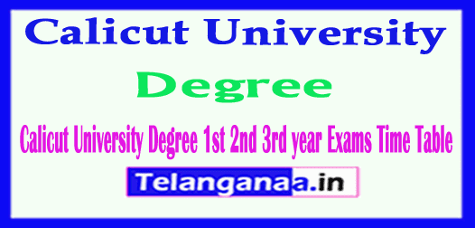 Calicut University Degree 1st 2nd 3rd year Exams Time Table